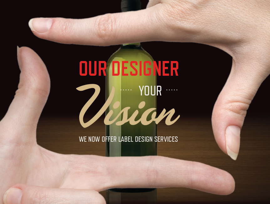 Hands forming a square with indicators and thumbs with a wine bottle at the background, representing the design services offered by CrushTag