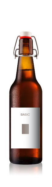 Swing top bottle with a blank basic front label from CrushTag