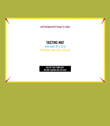 Customizable template design of a wine tasting mat with size, trim marks and bleed area. File can be downloaded for free from CrushTag