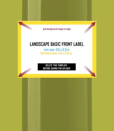 Customizable template design of a basic landscape front wine label with size, trim marks and bleed area. File can be downloaded for free from CrushTag