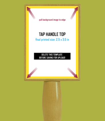 Customizable template design of a wine tap handle top with size, trim marks and bleed area. File can be downloaded for free from CrushTag
