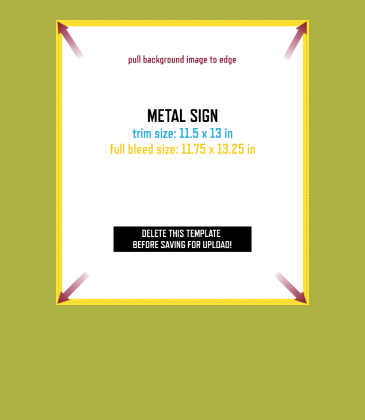 Customizable template design of a metal sign with size, trim marks and bleed area. File can be downloaded for free from CrushTag