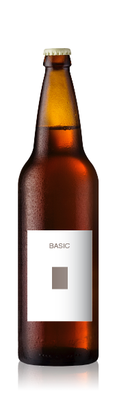 Bomber bottle with a blank basic front label from CrushTag