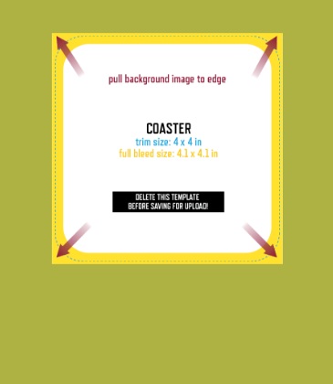 Customizable template design of a single-sided coaster with size, trim marks and bleed area. File can be downloaded for free from CrushTag