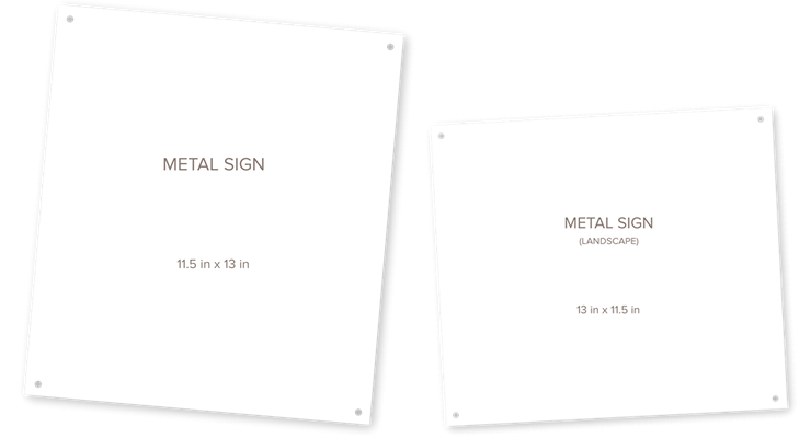 Image of two blank metal signs, one portrait and one landscape, next to it other on a transparent background. A product offered by CrushTag