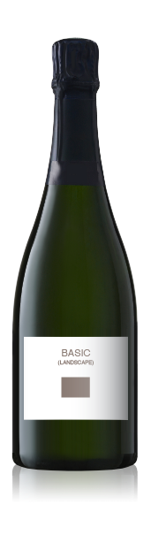 Champagne bottle with a blank basic landscape  front label from CrushTag