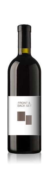 Bordeaux bottle with a blank front label, representing the front and back wine label set from CrushTag