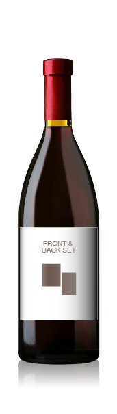 Burgundy bottle with a blank front label, representing the front and back wine label set from CrushTag