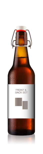 Swing top bottle with a blank front label, representing the front and back label set from CrushTag
