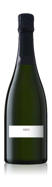 Champagne bottle with a blank mini landscape label from CrushTag