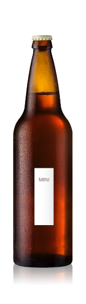 Bomber bottle with a blank mini portrait label from CrushTag