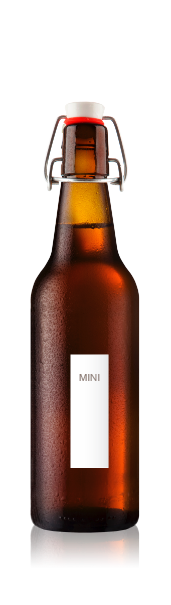 Swing top bottle with a blank mini portrait label from CrushTag