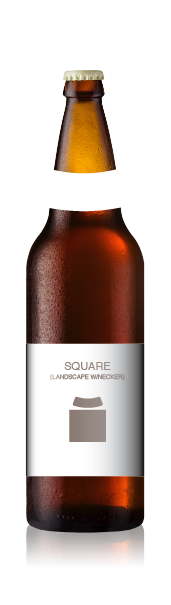Bomber bottle with a blank square label set (landscape) from CrushTag