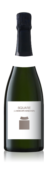 Champagne bottle with a blank square label set (landscape) from CrushTag