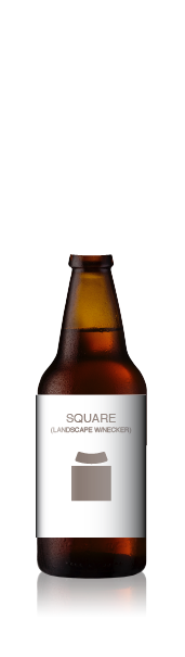 Short bottle with a blank square label set (landscape) from CrushTag