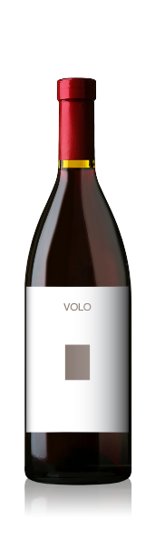 Burgundy bottle with a blank volo portrait label from CrushTag