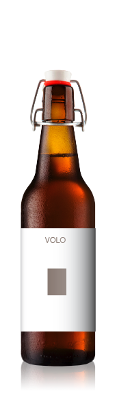 Swing top bottle with a blank volo portrait front label from CrushTag