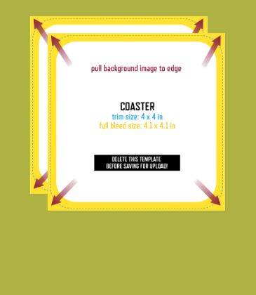 Customizable template design of a double-sided coaster with size, trim marks and bleed area. File can be downloaded for free from CrushTag