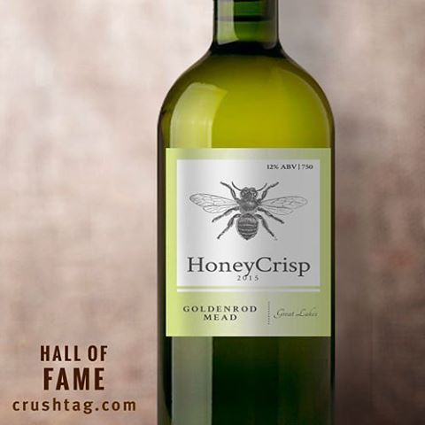 Wine label with black-and-white image of a bumble bee, part of CrushTag's Hall of Fame