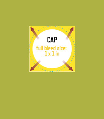 Customizable template design of a bottle cap with size, trim marks and bleed area. File can be downloaded for free from CrushTag
