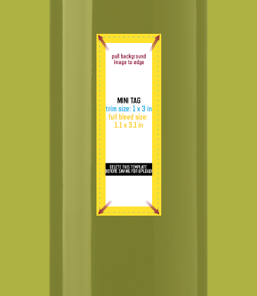 Customizable template design of a mini landscape wine label with size, trim marks and bleed area. File can be downloaded for free from CrushTag