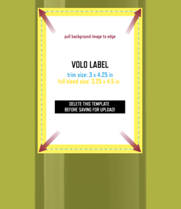 Customizable template design of a volo portrait wine label with size, trim marks and bleed area. File can be downloaded for free from CrushTag