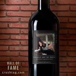 Wine label with image of woman touching a horse's face, part of CrushTag's Hall of Fame