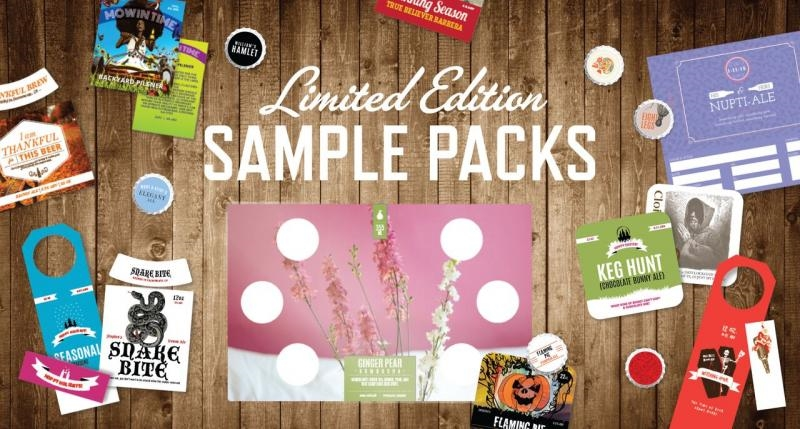 Different products offered by CrushTag on a wooden background, including bottle cap, labels, hangtag, coasters which are part of their assorted sample pack available to order online