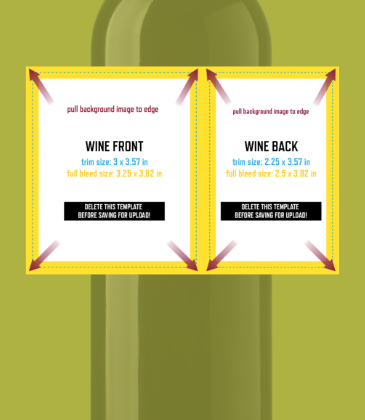 Customizable template design of a front and back label set with size, trim marks and bleed area. File can be downloaded for free from CrushTag