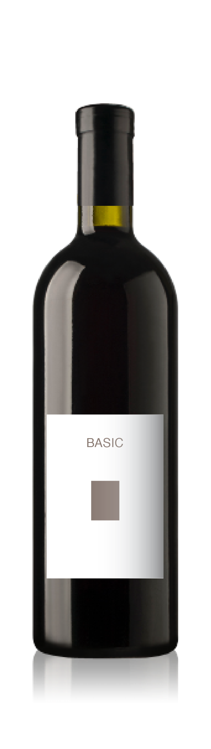 Bordeaux bottle with a blank basic front label from CrushTag